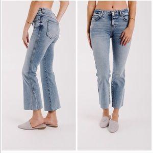 NEW Free People Rita Crop Flare Raw Hem Jeans